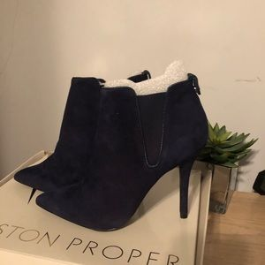 Boston Proper Navy Suede Ankle Boots